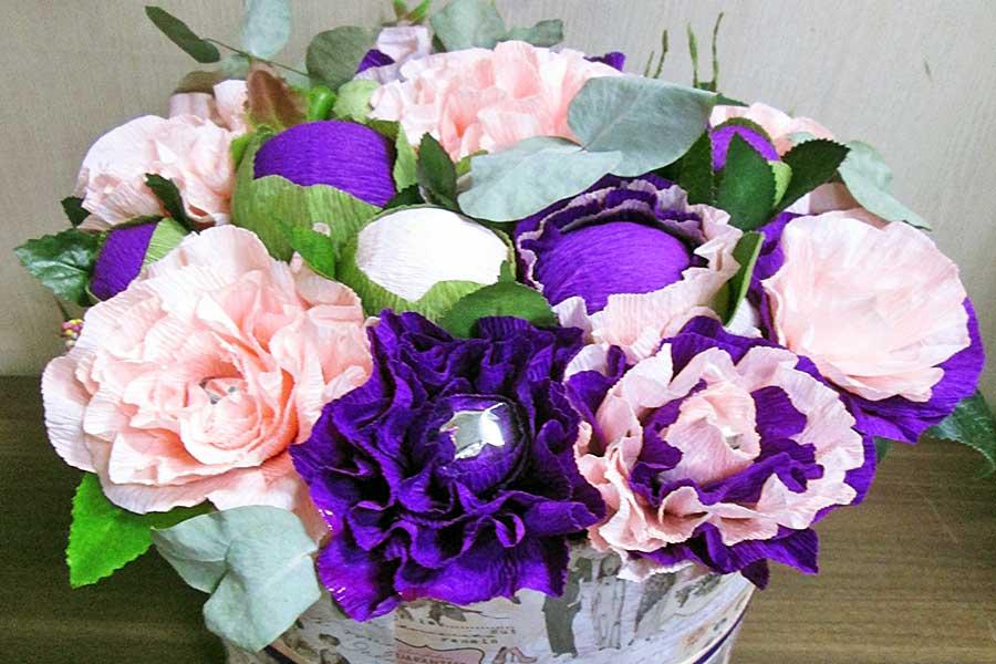 Имитация свежих цветов из бумаги